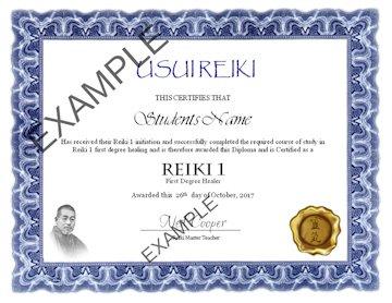 Example Reiki Certificate
