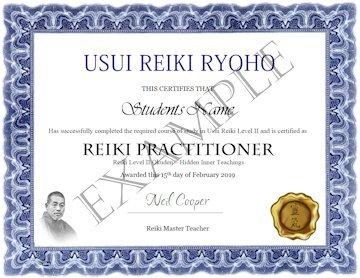 Usui Reiki Ryoho Certificate